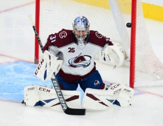 Jun 10, 2021; Las Vegas, Nevada, USA; Colorado Avalanche goaltender Philipp Grubauer (31) defends the goal against the Vegas Golden Knights during the second period in game six of the second round of the 2021 Stanley Cup Playoffs at T-Mobile Arena. Mandatory Credit: Gary A. Vasquez-USA TODAY Sports