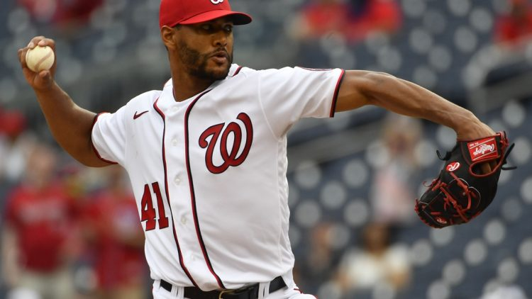 Jun 13, 2021; Washington, District of Columbia, USA; Washington Nationals starting pitcher Joe Ross (41) throws to the San Francisco Giants during the eighth inning at Nationals Park. Mandatory Credit: Brad Mills-USA TODAY Sports