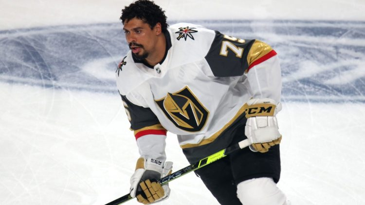 Jun 18, 2021; Montreal, Quebec, CAN; Vegas Golden Knights right wing Ryan Reaves (75) during the warm up session before the game three against Montreal Canadiens of the 2021 Stanley Cup Semifinals at Bell Centre. Mandatory Credit: Jean-Yves Ahern-USA TODAY Sports