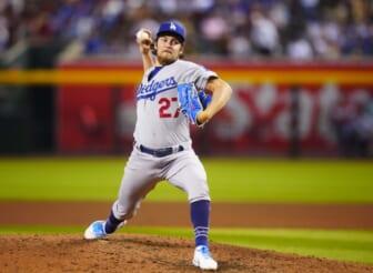 Jun 18, 2021; Phoenix, Arizona, USA; Los Angeles Dodgers pitcher Trevor Bauer against the Arizona Diamondbacks at Chase Field. Mandatory Credit: Mark J. Rebilas-USA TODAY Sports