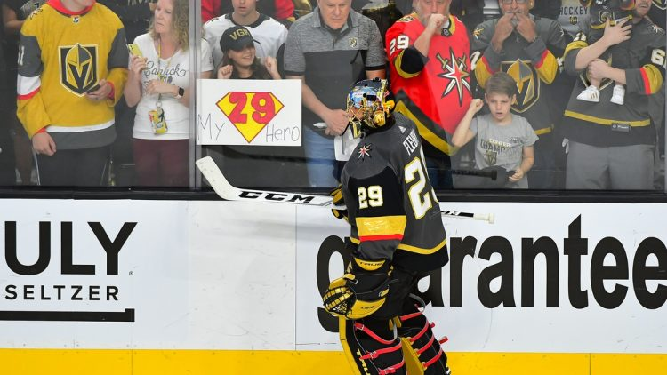 Jun 22, 2021; Las Vegas, Nevada, USA;Vegas Golden Knights goaltender Marc-Andre Fleury (29) skates past fans during pre-game warmups before the start of game five of the 2021 Stanley Cup Semifinals against the Montreal Canadiens at T-Mobile Arena. Mandatory Credit: Stephen R. Sylvanie-USA TODAY Sports