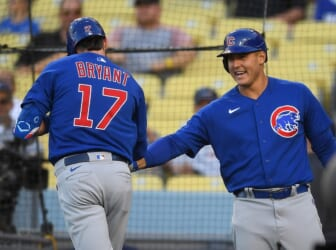 Jun 25, 2021; Los Angeles, California, USA;  Chicago Cubs third baseman Kris Bryant (17) is greeted by first baseman Anthony Rizzo (44) after hitting a solo home run in the first inning of the game against the Los Angeles Dodgers at Dodger Stadium. Mandatory Credit: Jayne Kamin-Oncea-USA TODAY Sports