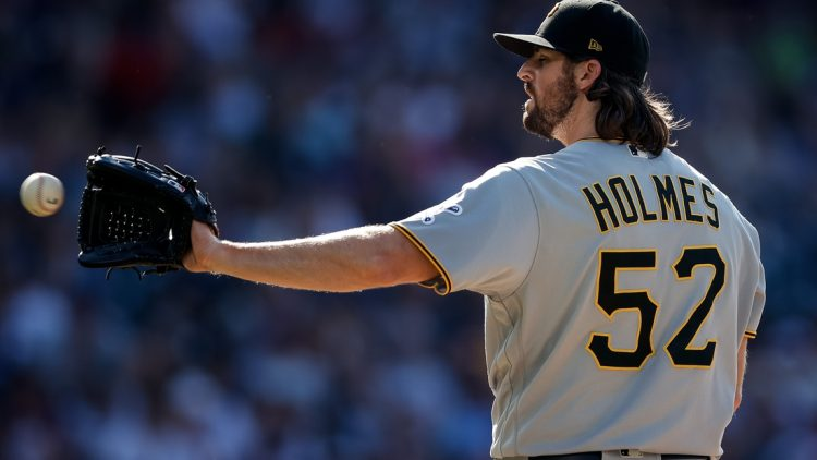 Jun 28, 2021; Denver, Colorado, USA; Pittsburgh Pirates relief pitcher Clay Holmes (52) catches a return ball in the sixth inning against the Colorado Rockies at Coors Field. Mandatory Credit: Isaiah J. Downing-USA TODAY Sports