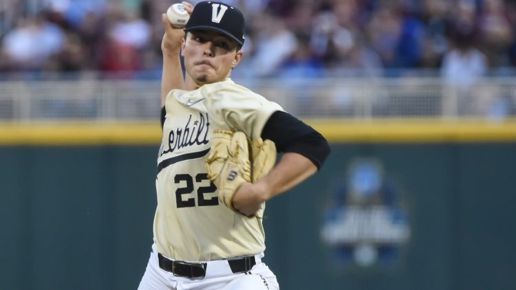 Jun 28, 2021; Omaha, Nebraska, USA;  Vanderbilt Commodores starting pitcher Jack Leiter (22) pitches in the fifth inning against the Mississippi St. Bulldogs at TD Ameritrade Park. Mandatory Credit: Steven Branscombe-USA TODAY Sports