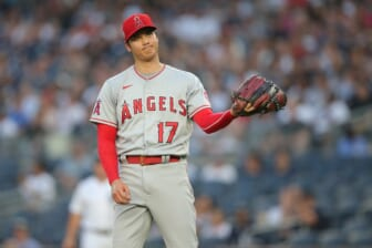 Jun 30, 2021; Bronx, New York, USA; Los Angeles Angels starting pitcher Shohei Ohtani (17) reacts during the first inning against the New York Yankees at Yankee Stadium. Mandatory Credit: Brad Penner-USA TODAY Sports