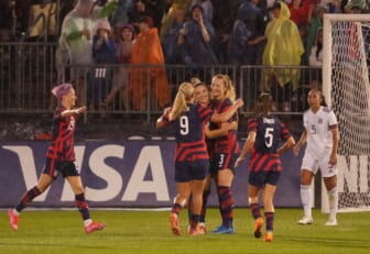 Jul 1, 2021; East Hartford, Connecticut, USA; USA midfielder Samantha Mewis (3) is congratulated after scoring against Mexico in the first half during a USWNT Send-off Series soccer match at Pratt & Whitney Stadium. Mandatory Credit: David Butler II-USA TODAY Sports