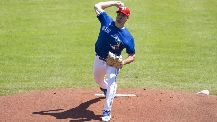 Jul 3, 2021; Buffalo, New York, CAN; Toronto Blue Jays pitcher Ross Stripling (48) delivers a pitch during the first inning against the Tampa Bay Rays at Sahlen Field. Mandatory Credit: Gregory Fisher-USA TODAY Sports