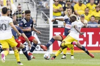 Jul 3, 2021; Columbus, Ohio, USA; Columbus Crew forward Gyasi Zardes (11) scores on this shot against New England Revolution in the first half at Lower.com Field. Mandatory Credit: Greg Bartram-USA TODAY Sports