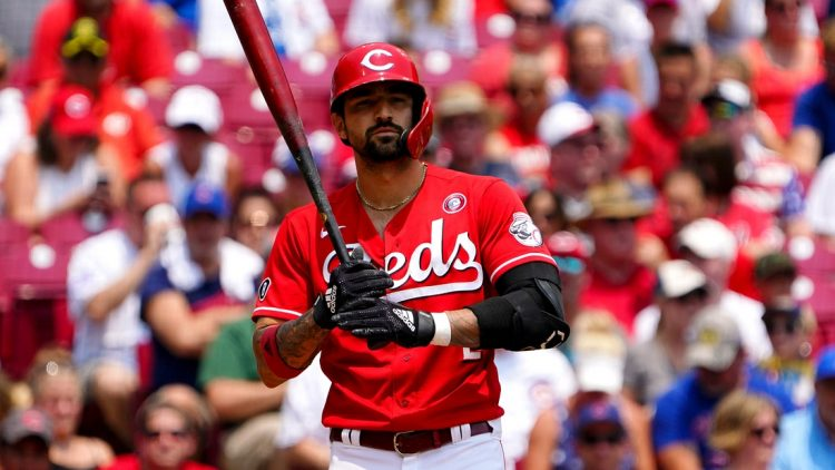 Cincinnati Reds right fielder Nick Castellanos (2) gets set to step into the batter's box for his at bat during the first inning of a baseball game against the Chicago Cubs, Sunday, July 4, 2021, at Great American Ball Park in Cincinnati.  Chicago Cubs At Cincinnati Reds July 4