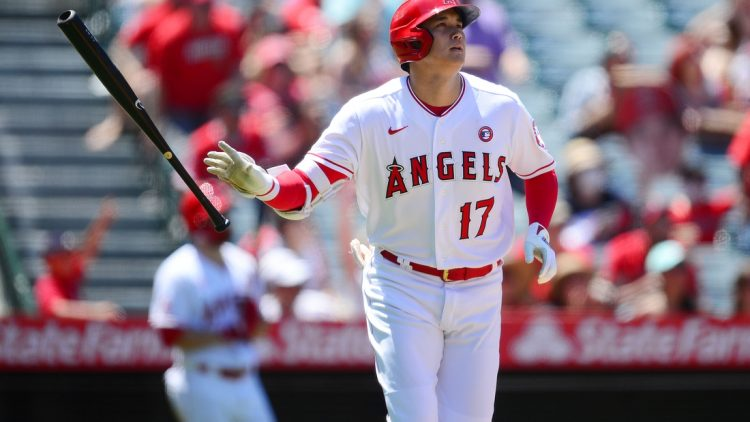 Jul 4, 2021; Anaheim, California, USA; Los Angeles Angels designated hitter Shohei Ohtani (17) reacts after hitting a solo home run against the Baltimore Orioles during the third inning at Angel Stadium. Mandatory Credit: Gary A. Vasquez-USA TODAY Sports