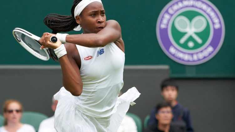 Jul 5, 2021; London, United Kingdom;  Coco Gauff (USA) seen playing Angelique Kerber (GER) on the Centre court in the ladies fourth round at All England Lawn Tennis and Croquet Club. Mandatory Credit: Peter van den Berg-USA TODAY Sports