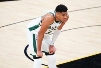 Jul 6, 2021; Phoenix, Arizona, USA; Milwaukee Bucks forward Giannis Antetokounmpo (34) reacts against the Phoenix Suns during the second half in game one of the 2021NBA Finals at Phoenix Suns Arena. Mandatory Credit: Mark J. Rebilas-USA TODAY Sports