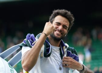 Jul 7, 2021; London, United Kingdom; Matteo Berrettini (ITA) seen celebrating his victory over Felix Auger-Aliassime (CAN) in the quarter finals at All England Lawn Tennis and Croquet Club. Mandatory Credit: Peter van den Berg-USA TODAY Sports