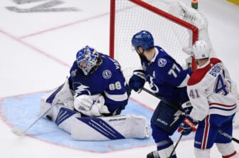 Jul 7, 2021; Tampa, Florida, USA; Tampa Bay Lightning goaltender Andrei Vasilevskiy (88) makes a save against the Montreal Canadiens during the second period in game five of the 2021 Stanley Cup Final at Amalie Arena. Mandatory Credit: Douglas DeFelice-USA TODAY Sports
