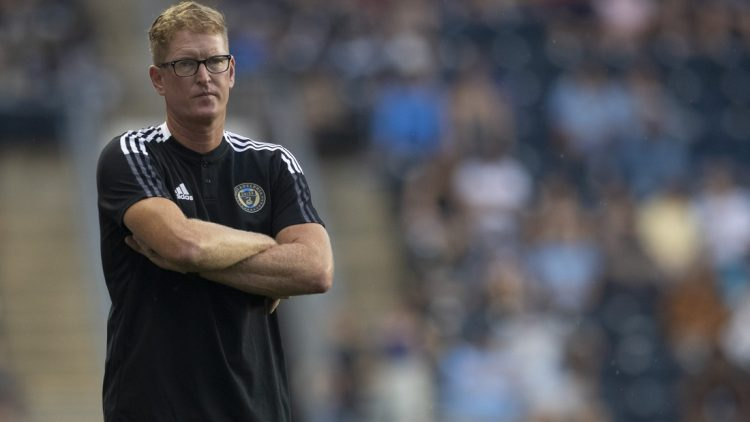 Jul 17, 2021; Chester, Pennsylvania, USA; Philadelphia Union head coach Jim Curtin looks on in the first half against D.C. United at Subaru Park. Mandatory Credit: Mitchell Leff-USA TODAY Sports