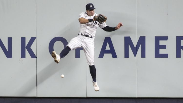 Jul 18, 2021; Bronx, New York, USA;  New York Yankees right fielder Trey Amburgey (95) is unable to make a catch on a ball against the Boston Red Sox at Yankee Stadium. Mandatory Credit: Wendell Cruz-USA TODAY Sports