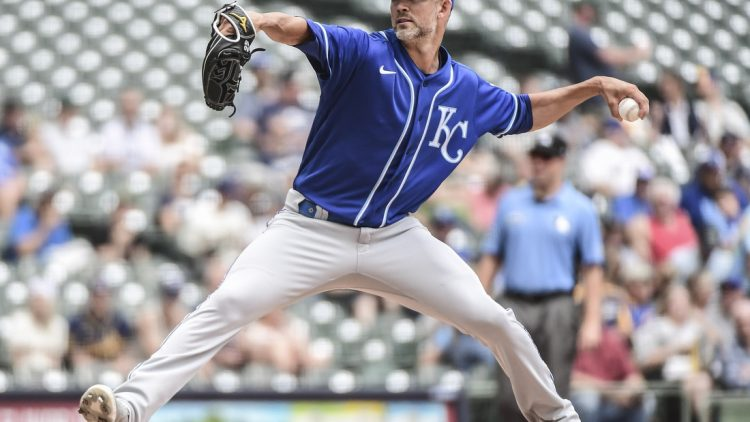 Jul 20, 2021; Milwaukee, Wisconsin, USA; Kansas City Royals pitcher Mike Minor (23) throws against the Milwaukee Brewers in the first inning at American Family Field. Mandatory Credit: Benny Sieu-USA TODAY Sports