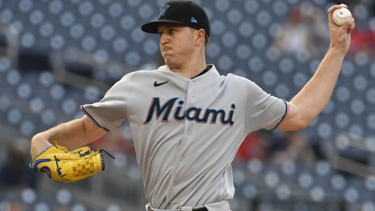 Jul 20, 2021; Washington, District of Columbia, USA; Miami Marlins starting pitcher Trevor Rogers (28) throws to the Washington Nationals during the first inning at Nationals Park. Mandatory Credit: Brad Mills-USA TODAY Sports