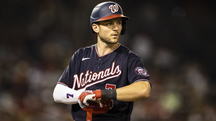 Jul 16, 2021; Washington, District of Columbia, USA; Washington Nationals shortstop Trea Turner (7) looks on during the game against the San Diego Padres at Nationals Park. Mandatory Credit: Scott Taetsch-USA TODAY Sports