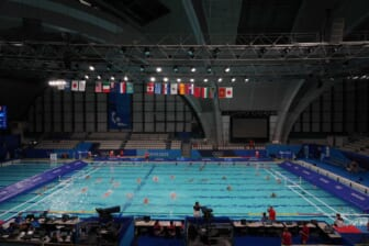 Jul 23, 2021; Tokyo, Japan; A general view of the Tatsumi Water Polo Centre, the site for water polo competition at the Tokyo 2020 Summer Olympic Games. Mandatory Credit: Kirby Lee-USA TODAY Sports