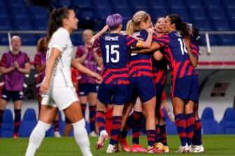 Team USA celebrates a goal by midfielder Rose Lavelle (16) during the first half against New Zealand in group G play during the Tokyo Olympics.  Olympics Football Women Group G Nzl Usa