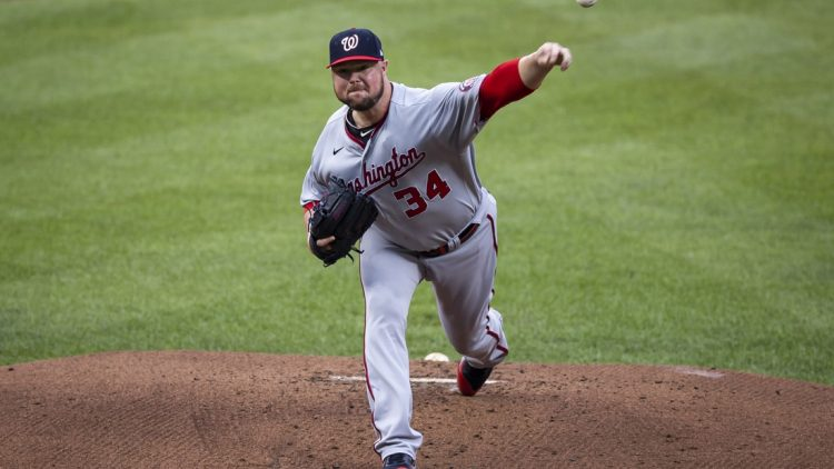 Jul 24, 2021; Baltimore, Maryland, USA; Washington Nationals starting pitcher Jon Lester (34) pitches against the Baltimore Orioles during the first inning at Oriole Park at Camden Yards. Mandatory Credit: Scott Taetsch-USA TODAY Sports