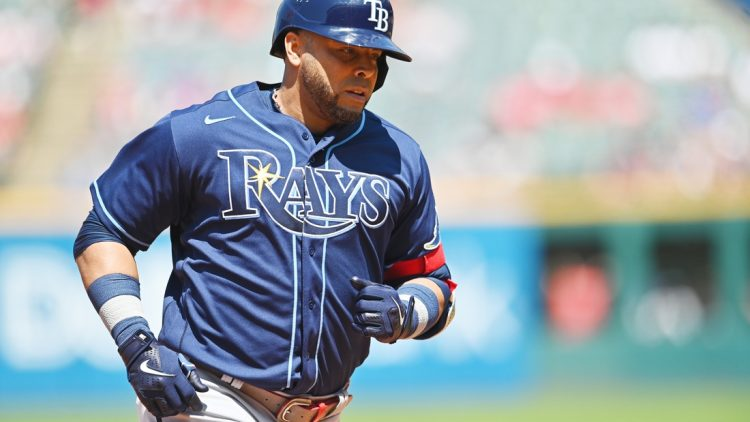 Jul 25, 2021; Cleveland, Ohio, USA; Tampa Bay Rays designated hitter Nelson Cruz (23) rounds the bases after hitting a home run during the sixth inning against the Cleveland Indians at Progressive Field. Mandatory Credit: Ken Blaze-USA TODAY Sports