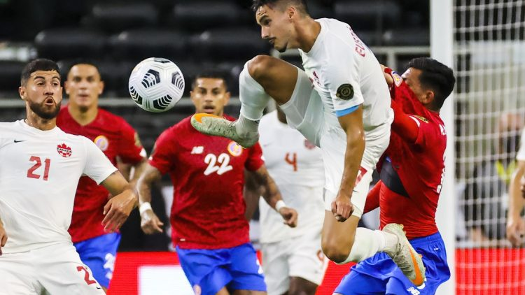 Jul 25, 2021; Arlington, Texas, USA; Canada midfielder Stephen Eustaquio (7) controls the ball against Costa Rica during the first half of a CONCACAF Gold Cup quarterfinal soccer match at AT&T Stadium. Mandatory Credit: Kevin Jairaj-USA TODAY Sports