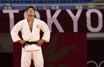 Jul 26, 2021; Tokyo, Japan; Shohei Ono (JPN) reacts after winning the men's 73 kg gold medal during the Tokyo 2020 Olympic Summer Games at Nippon Budokan. Mandatory Credit: Mandi Wright-USA TODAY Sports