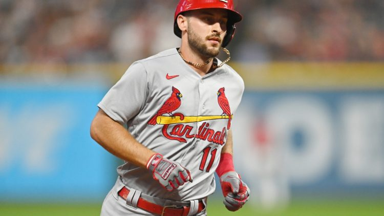 Jul 27, 2021; Cleveland, Ohio, USA; St. Louis Cardinals shortstop Paul DeJong (11) rounds the bases after hitting a home run during the seventh inning against the Cleveland Indians at Progressive Field. Mandatory Credit: Ken Blaze-USA TODAY Sports