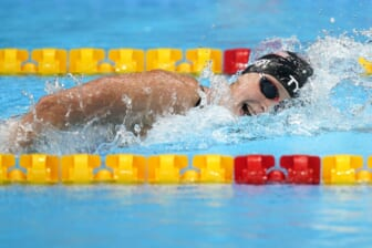Jul 28, 2021; Tokyo, Japan; Katie Ledecky (USA) competes in the women's 1500m freestyle final during the Tokyo 2020 Olympic Summer Games at Tokyo Aquatics Centre. Mandatory Credit: Grace Hollars-USA TODAY Sports