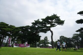 Jul 29, 2021; Tokyo, Japan; General view as Xander Schauffele (USA) walks on the third hole during round one of the men's individual stroke play of the Tokyo 2020 Olympic Summer Games at Kasumigaseki Country Club. Mandatory Credit: Kyle Terada-USA TODAY Sports