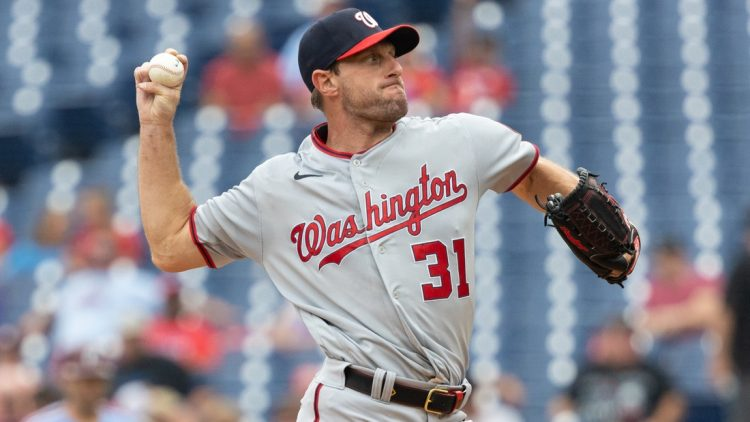 Jul 29, 2021; Philadelphia, Pennsylvania, USA; Washington Nationals starting pitcher Max Scherzer (31) throws a pitch during the first inning against the Philadelphia Phillies at Citizens Bank Park. Mandatory Credit: Bill Streicher-USA TODAY Sports