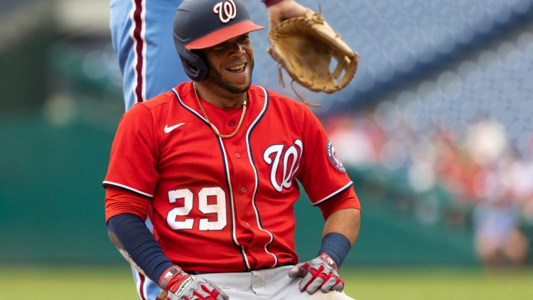 Jul 29, 2021; Philadelphia, Pennsylvania, USA; Washington Nationals outfielder Yadiel Hernandez (29) reacts at third base after his two-run RBI hit during the first inning against the Philadelphia Phillies at Citizens Bank Park. Mandatory Credit: Bill Streicher-USA TODAY Sports