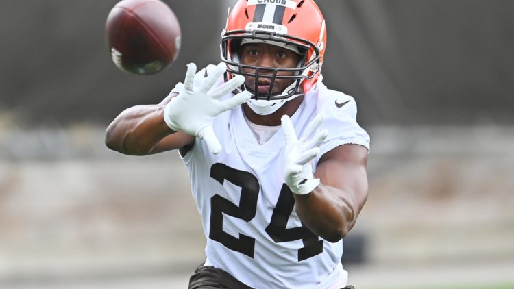 Jul 29, 2021; Berea, Ohio, USA; Cleveland Browns running back Nick Chubb (24) catches a pass during training camp at CrossCountry Mortgage Campus. Mandatory Credit: Ken Blaze-USA TODAY Sports