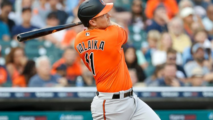 Jul 31, 2021; Detroit, Michigan, USA;  Baltimore Orioles second baseman Pat Valaika (11) hits a two RBI single against the Detroit Tigers in the fifth inning at Comerica Park. Mandatory Credit: Rick Osentoski-USA TODAY Sports