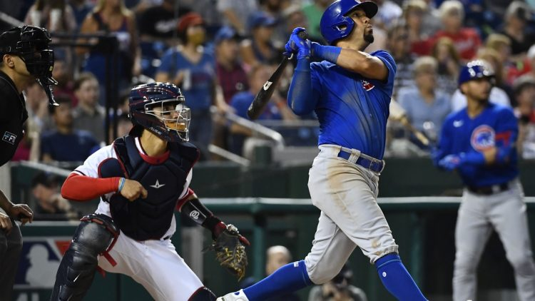 Jul 31, 2021; Washington, District of Columbia, USA; Chicago Cubs center fielder Rafael Ortega (66) hits a two run home run against the Washington Nationals during the fourth inning at Nationals Park. Mandatory Credit: Brad Mills-USA TODAY Sports