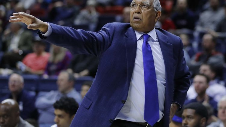 Feb 25, 2018; Storrs, CT, USA; Memphis Tigers head coach Tubby Smith watches from the sideline as they take on the Connecticut Huskies in the second half at Gampel Pavilion. Memphis defeated UConn 83-79. Mandatory Credit: David Butler II-USA TODAY Sports