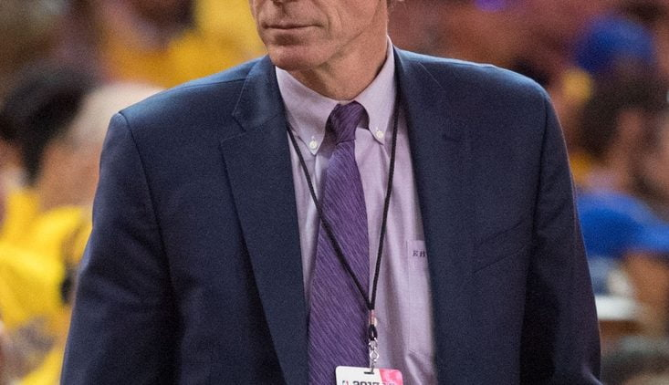May 1, 2018; Oakland, CA, USA; NBA executive vice president of basketball operations Kiki VanDeWeghe during the third quarter in game two of the second round of the 2018 NBA Playoffs between the Golden State Warriors and the New Orleans Pelicans at Oracle Arena. The Warriors defeated the Pelicans 121-116. Mandatory Credit: Kyle Terada-USA TODAY Sports
