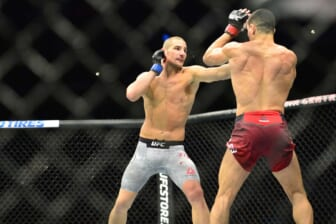 Oct 27, 2018; Moncton, Canada; Nordine Taleb (red gloves) fights Sean Strickland (blue gloves) during UFC Fight Night at Moncton Events Centre. Mandatory Credit: Trevor MacMillan-USA TODAY Sports