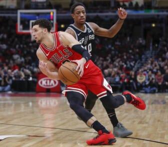 Nov 26, 2018; Chicago, IL, USA; Chicago Bulls guard Zach LaVine (8) drives to the basket past San Antonio Spurs guard DeMar DeRozan (10) during the second half at United Center. Mandatory Credit: Kamil Krzaczynski-USA TODAY Sports