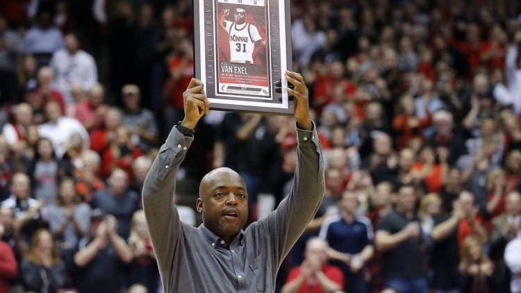 Former Cincinnati Bearcats guard Nick Van Exel is recognized in the second half during the college basketball game between the Memphis Tigers and the Cincinnati Bearcats Thursday, Feb. 23, 2017, at Fifth Third Arena in Cincinnati.  022317 Memphis Cincinnati 721