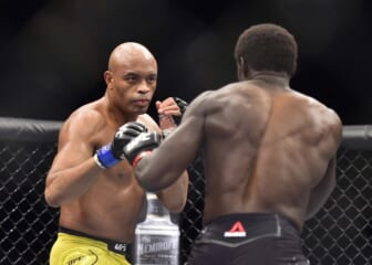 May 11, 2019; Rio de Janeiro, Brazil; Jared Cannonier (red gloves) fights Anderson Silva (blue gloves) during UFC 237 at Jeunesse Arena. Mandatory Credit: Jason Silva-USA TODAY Sports