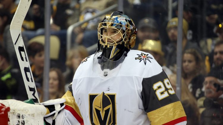 Oct 19, 2019; Pittsburgh, PA, USA;  Vegas Golden Knights goaltender Marc-Andre Fleury (29) smiles during a time-out against the Pittsburgh Penguins during the second period at PPG PAINTS Arena. Las Vegas shutout Pittsburgh 3-0. Mandatory Credit: Charles LeClaire-USA TODAY Sports