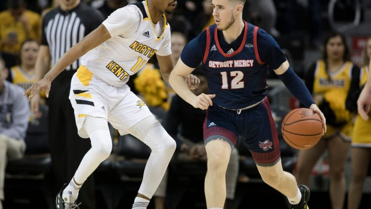 Northern Kentucky Norse guard Adham Eleeda (1) guards Detroit Titans guard Brad Calipari (12) in the second half of the NCAA basketball game on Saturday, Feb. 8, 2020, at BB&T Arena in Highland Heights, Ky. Northern Kentucky Norse defeated Detroit Titans 84-65.  Northern Kentucky Norse Vs Detroit Titans 00392
