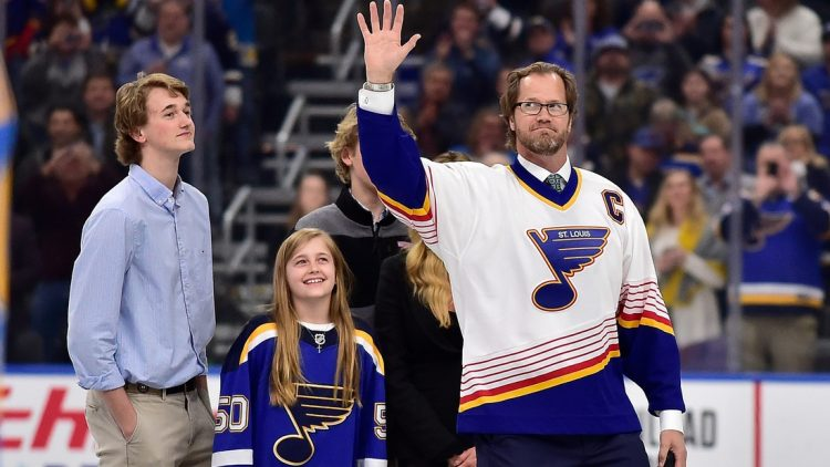 Feb 8, 2020; St. Louis, Missouri, USA;  Former St. Louis Blues defenseman Chris Pronger (44) waves to fans after it was announced that the Blues would retire his jersey next year prior to a game against the Dallas Stars at Enterprise Center. Mandatory Credit: Jeff Curry-USA TODAY Sports