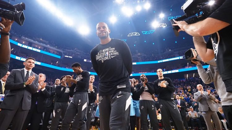 Feb 10, 2020; San Francisco, California, USA; Miami Heat guard Andre Iguodala is acknowledged before the game against former team the Golden State Warriors at Chase Center. Mandatory Credit: Kelley L Cox-USA TODAY Sports