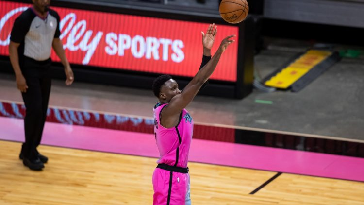 Apr 1, 2021; Miami, Florida, USA; Miami Heat guard Victor Oladipo (4) attempts a three-point shot during the second quarter of a game against the Golden State Warriors at American Airlines Arena. Mandatory Credit: Mary Holt-USA TODAY Sports