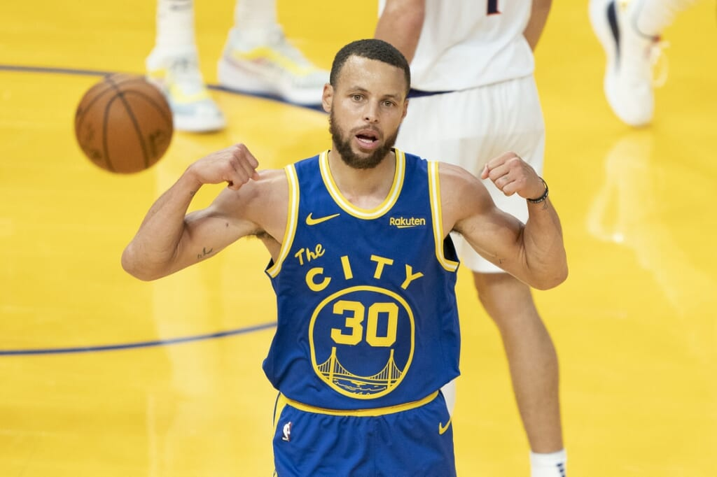 May 11, 2021; San Francisco, California, USA; Golden State Warriors guard Stephen Curry (30) celebrates after making a basket against the Phoenix Suns during the third quarter at Chase Center. Mandatory Credit: Kyle Terada-USA TODAY Sports