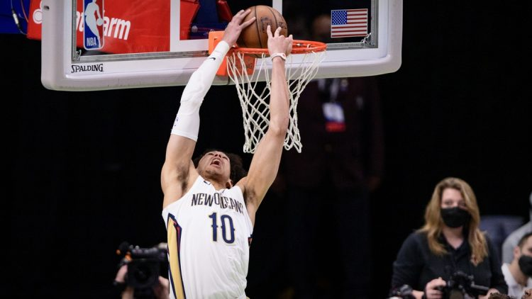 May 12, 2021; Dallas, Texas, USA; New Orleans Pelicans center Jaxson Hayes (10) dunks the ball against the Dallas Mavericks during the second quarter at the American Airlines Center. Mandatory Credit: Jerome Miron-USA TODAY Sports